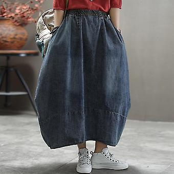 Printemps Automne Denim Jupe Elastic Waist Loose Striped Midi Women Vintage Retro