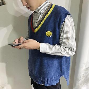 Pull Vest, Men Patchwork V-neck, Shrug Chic, Sleeveless Knitted Tops,