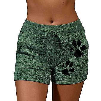 Zomer Drawstring Cat Paw Print Shorts Lace Up High Waist Elastic Cotton Short