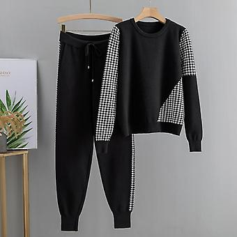 2 Piece Set Tracksuits Fall Winter Women Pullover Sweater + Carrot Harem Pants