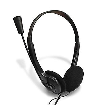 Black 3.5mm Plug Wired Stereo Headset Noise Cancelling Earphone With Microphone