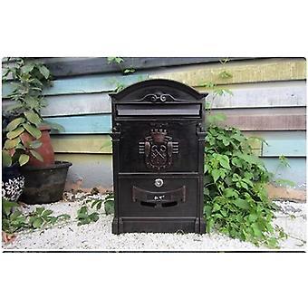 Buzón de correo retro periódico, postal de correo pastoral, papel caja grande, pared al aire libre