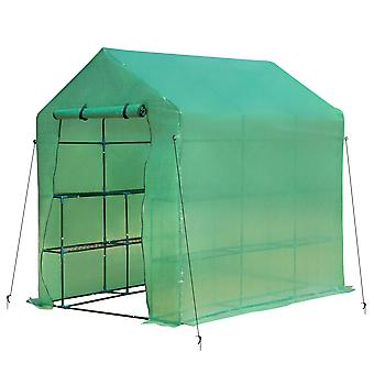 Outsunny Walk in Garden Greenhouse with Shelves Polytunnel Steeple Green house Grow House Removable Cover 2L x 1.43W x 2H(m)