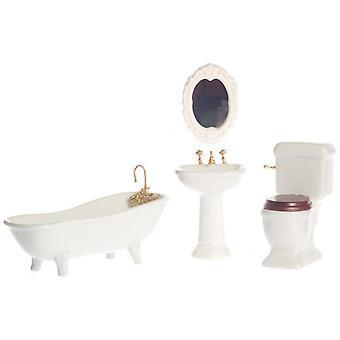 Casa de muñecas Plain White Porcelain Baño Suite Conjunto de Muebles Miniatura