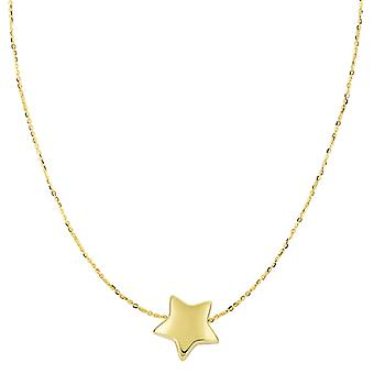 """14k Yellow Gold Sliding Puffed Star Pendant Necklace, 18"""""""