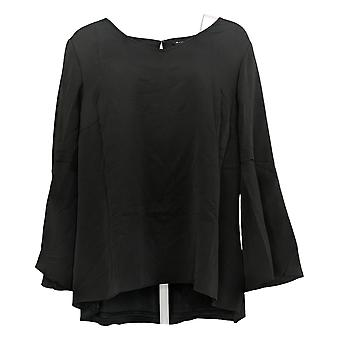 H by Halston Women's Plus Top Textured Georgette Bell Sleeves Black A305353