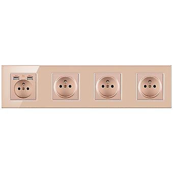 Glass Panel Four-slot Power Socket With Pins And 2 Usb Charging Port