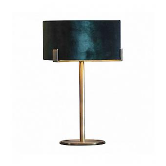 Hayfield Table Lamp In Steel, Matte Antique Brass Plate And Green Velvet