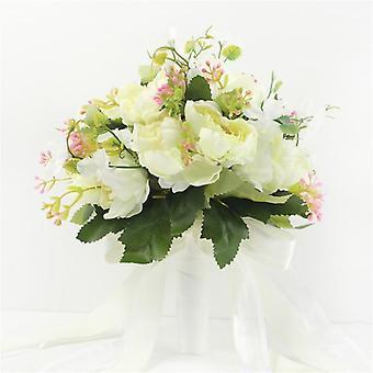 結婚式ブーケ造花ブライダルブーケブライドメイド花ピオニー