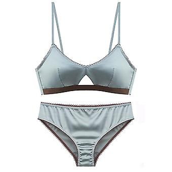Silky Underwear High Quality Cottons Set Fashion Striped Bra Lingerie Push Up