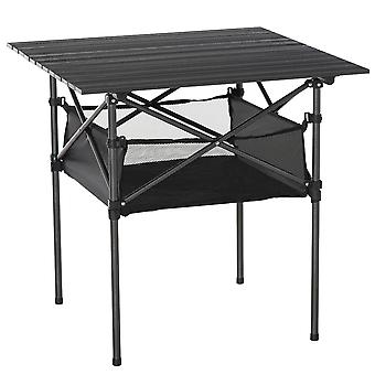 Outsunny Aluminium Roll-Top Table w/ Mesh Bag Camping Outdoor Dining Foldable w/ Steel Frame Picnic Lightweight Hiking Furniture Desk