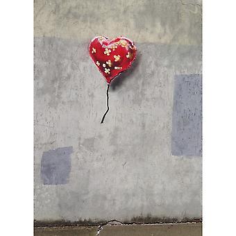 Malerei Inspirationen Autor Bansky Multicolor Herz aus Holz, Baumwolle, L70xP100xA3 cm