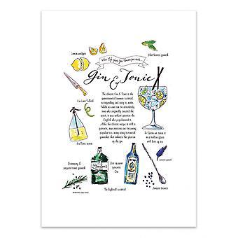 Art-Poster - Gin Tonic cocktail - Mercedes Lopez Charro