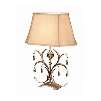 Lámpara Lily, Bronce Antiguo Y Vidrio, Con Pantalla.
