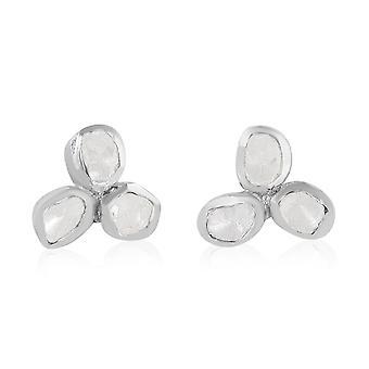 Diamant Blumenohrringe für Frauen Schmuck für Naturliebhaber in Silber TCW 0,5 ct