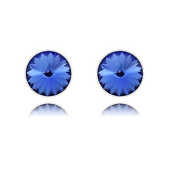 Silver sapphire stud earrings with swarovski crystal