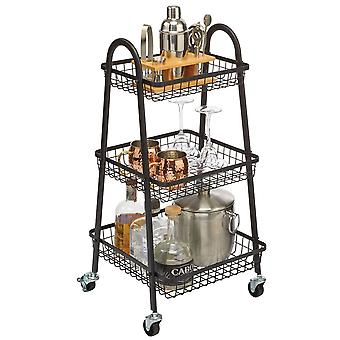 mDesign Metal 3-Tier Tapered Wire Rolling Household Storage Cart