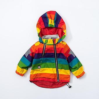 Baby Hooded Coat Sunscreen Rainbow Stripe Jacket