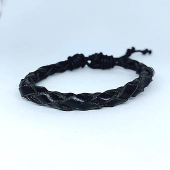 Bracelet fait main pour hommes véritables bandes tressées en cuir noir