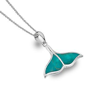 Sterling Silver Pendant Necklace - Origins Whales Tail + Turquoise