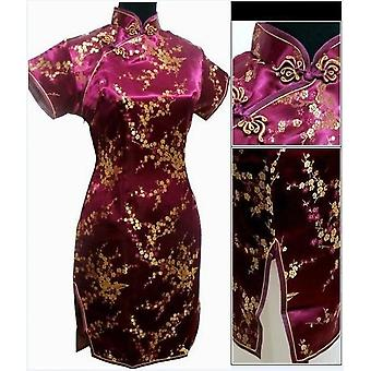 أنيقة سليم زائد حجم الصينية فستان رايون الإناث