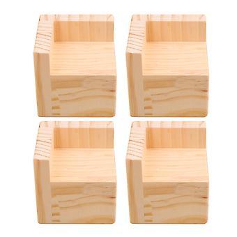 4x Wood Home Furniture Riser Bed Lifters 6x6CM Feet 5CM Lift Height