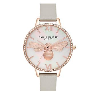 Olivia Burton Ob16bb17 Lucky Bee Sparkle Rose Gold And Grey Leather Ladies Watch
