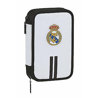 Kaksinkertainen lyijykynäkotelo Real Madrid C.F. 20/21 Valkoinen Musta (28 kpl)