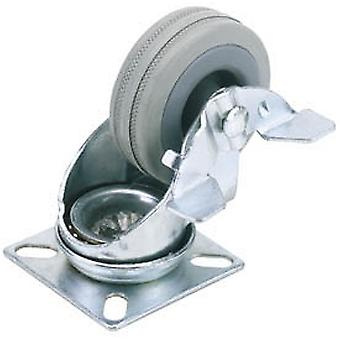 Draper 65474 75mm Dia. Swivel Plate Fixing Rubber Castor with Brake S.W.L 70Kg