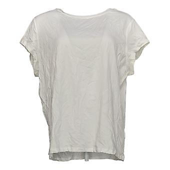 Anybody Women's Plus Top Cozy Knit Shrunken Boyfriend Tee White A378607