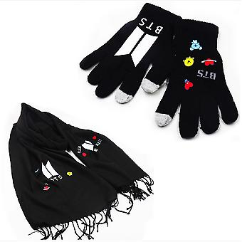 2pcs Bts Costume Set 1 Scarf 1 Artificial Wool Capacitor Gloves For Lovers Black