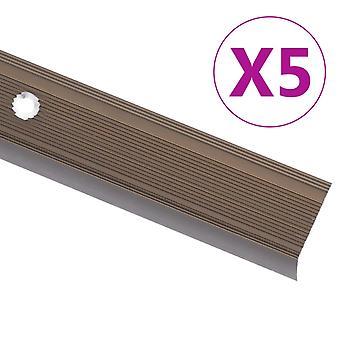 vidaXL Stair edge profile in L-shape 5 pcs. aluminium 90cm brown