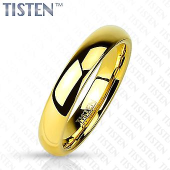 Tisten tungsten polished titanium plain traditional gold ip wedding band ring