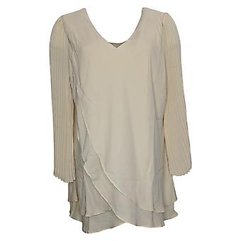 Laurie Felt Woven Top Reversible Pleated Sleeve Blouse Ivory A379346