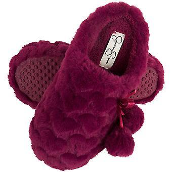 Jessica Simpson Girls Pluche Slip-On Klompen - Comfy Memory Foam Slipper House Schoen met schattige harten en Pom Poms voor kinderen