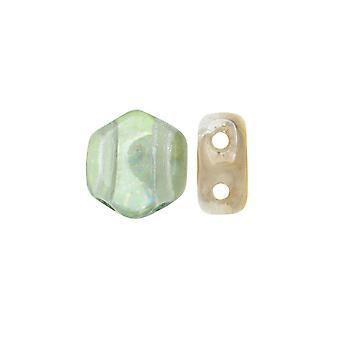 Czech Glass Honeycomb Beads, 2-Hole Hexagon 6mm, 30 Pieces, Beach Mix