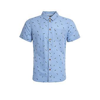 Peale impreso lino rico camisa denim