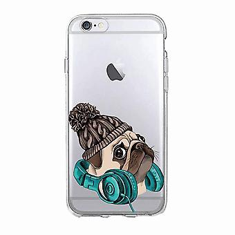 Auriculares iPhone 12, 12 Pro y Max Transparent Shell Dog Pug Beanie