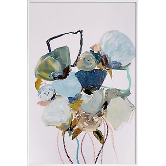 IMPRESSION JUNIQE - Bloom 0831 - Affiche florale en bleu et gris