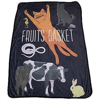 Fruits Basket Animal Forms Symbol Throw Blanket
