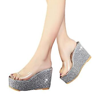 Fashionable Sequin Chunky Wedge Slippers Sexy Transparent Slippers