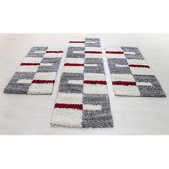 Runner Set Carpet Set Bed Border Shaggy Hochflor Rød Grå Hvid Sæt af 3