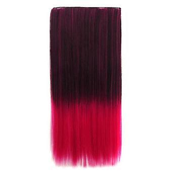 Black gradient cherry powder gradient ramp straight cosplay wig hair extension 5 cards dt1785