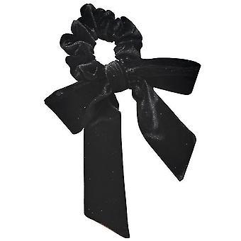 Velvet Head Rope Streamer Bow Knot Hair Loop High Elastic Tie Hair(Black)