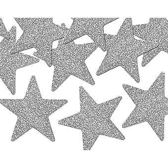 SISTE FÅ - 8 sølvglitterte plaststjernedekorasjoner for håndverkspynt