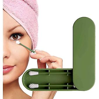 Reusable Double Sided Eco-friendly Cotton Swab With Storage Case(Green)