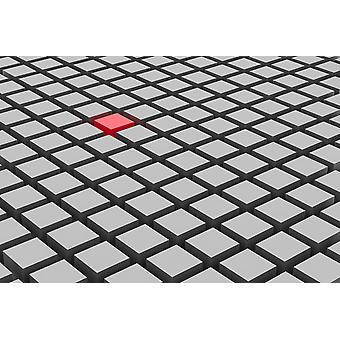 Tapetmaleri 3d-visning av rød boks blant en masse grå bokser