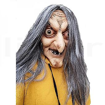 Scary Old Witch Mask Látex with Hair Halloween Fancy Dress Grimace Party Costume Cosplay Masks Props Adult One Size