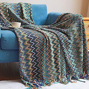 Bohemisk kastfilt med tofsfärg mjuka stickade filtar för bäddsoffa stol säng hem dekorera, blå
