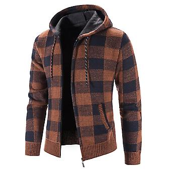 Mile Men's Classic Hooded Full Zip Check Cable Knitted Cardigan Sweater Coat